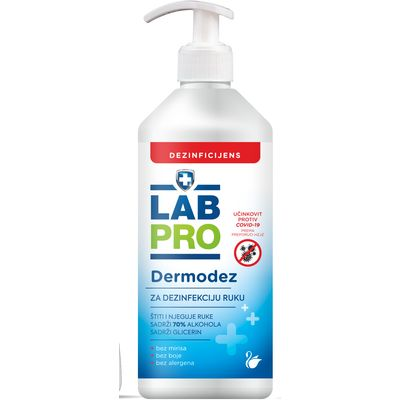 Labpro Dermodez je tekuće sredstvo za dezinfekciju ruku na bazi etanola. Sadrži glicerin i ne isušuje kožu. Sredstvo se koristi za dezinfekciju ruku, za opću i profesionalnu uporabu.  Najmanje 3 ml sredstva nanijeti na dlanove suhih i čistih ruku i zapešća, utrljavati u kožu, sve dok se ruke potpuno ne osuše.  Aktivna tvar: 70% etanol