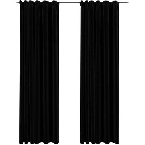 Zavjese za zamračivanje s kukama 2 kom crne 140 x 245 cm slika 6