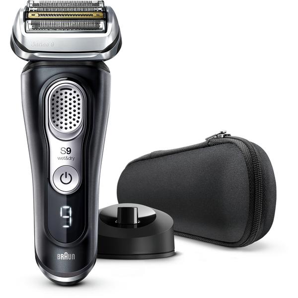 Braun Series 9 9340s, brijaći aparat nove generacije, punjiv i bežičan, crni, s postoljem za punjenje i tekstilnim putnim etuijem, za mokro i suho brijanje, aparat s mrežicom, litij-ionska baterija za dulji rad (60 minuta), 100% vodootporan