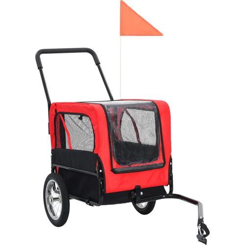 2-u-1 prikolica za bicikl i kolica za kućne ljubimce crveno-crna slika 2