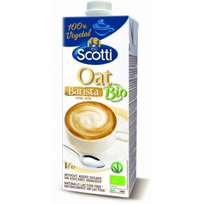 RISO SCOTTI – Oat drink barista  Naziv proizvoda: Eko proizvod-napitak od zobi za kavu  Prikladno za vegane. **Prirodno ne sadrži laktozu (udio laktoze: 0,0 g).