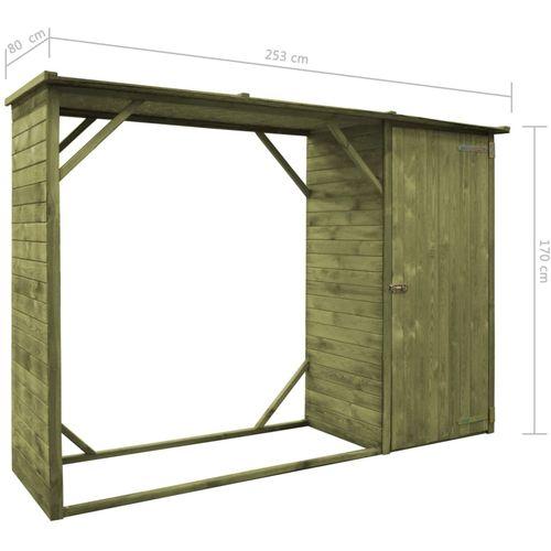 Vrtno spremište za drva i alat od borovine 253 x 80 x 170 cm slika 6