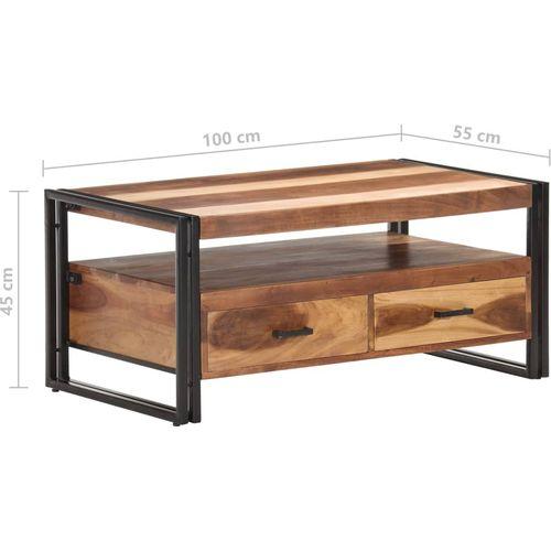 Stolić za kavu 100 x 55 x 45 cm od bagremovog drva i šišama slika 6