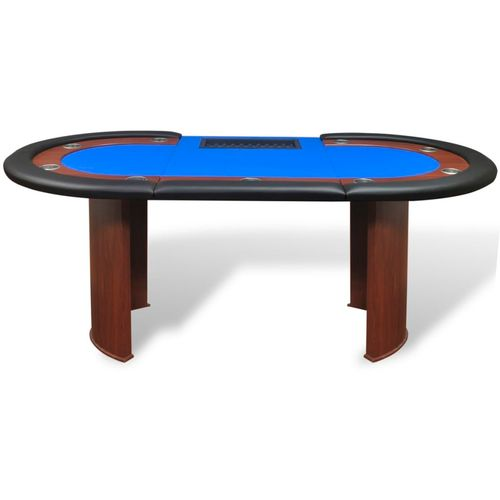 Stol za Poker za 10 Igrača s Prostorom za Djelitelja i Držačem Žetona Plavi  slika 34