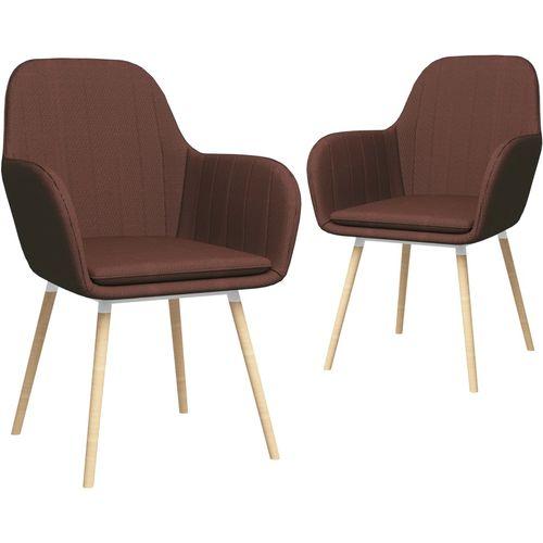 Blagovaonske stolice s naslonima za ruke 2 kom smeđe od tkanine slika 1