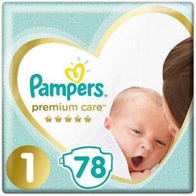 Pampers Premium Care, pelene s trakicama za učvršćivanje, veličina 1, 2-5 kg, 78 komada pelena        Već od prvog dodira s pelenama Pampers Premium Care, koje pružaju našu najbolju zaštitu kože, vaša beba neće osjetiti ništa drugo osim čiste ljubavi. Mekane su poput svile i suhe u tren oka.