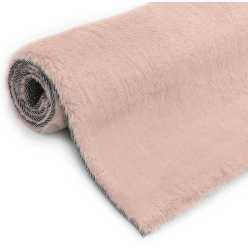 Tepih od umjetnog zečjeg krzna 160 x 230 cm blijedo ružičasti slika 3
