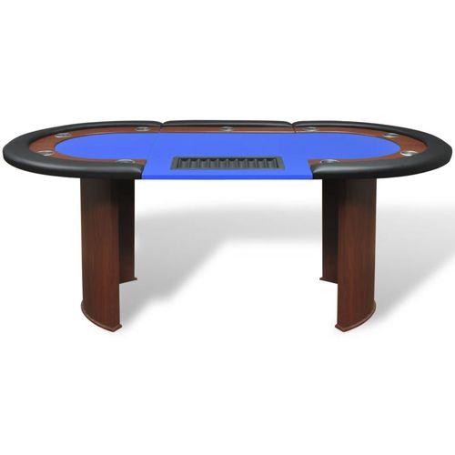 Stol za Poker za 10 Igrača s Prostorom za Djelitelja i Držačem Žetona Plavi  slika 11