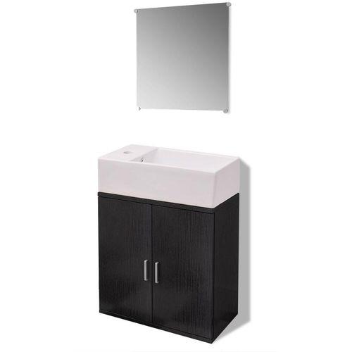 3-Dijelni Komplet Namještaja za Kupaonicu s Umivaonikom Crni  slika 10