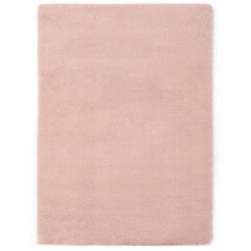 Tepih od umjetnog zečjeg krzna 160 x 230 cm blijedo ružičasti slika 1