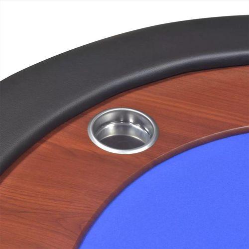Stol za Poker za 10 Igrača s Prostorom za Djelitelja i Držačem Žetona Plavi  slika 3