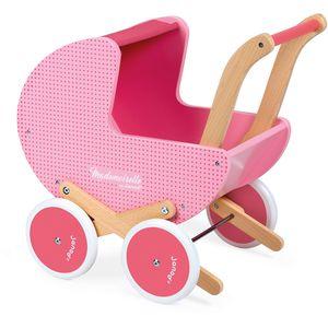 Preslatka drvena kolica za lutke u rozim nijansama oduševit će svaku djevojčicu i potaknuti je na kretanje. Djeca mogu imitirati odrasle gurajući svoje omiljene lutke i plišane igračke u ovim kolicima, a kako im ne bi bilo hladno u šetnji mogu ih pokriti dekicom koja dolazi s kolicima...