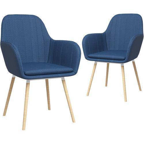 Blagovaonske stolice s naslonima za ruke 2 kom plave od tkanine slika 2