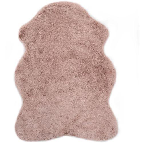 Tepih od umjetnog zečjeg krzna 65 x 95 cm blijedo ružičasti slika 1