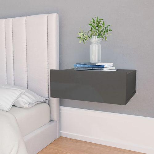 Viseći noćni ormarići 2 kom sjajni sivi 40x30x15 cm od iverice slika 1