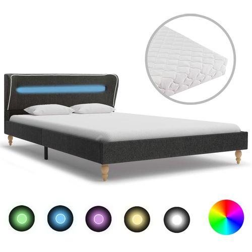 Krevet od jute s LED svjetlom i madracem tamnosivi 120 x 200 cm slika 1
