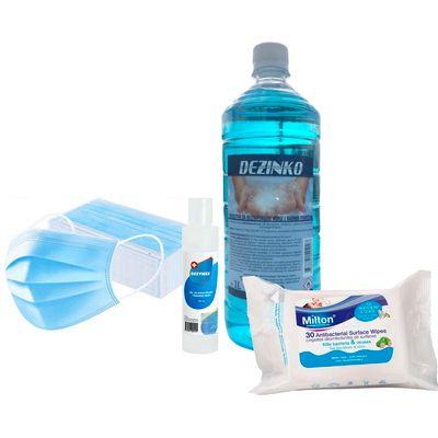 Set za zaštitu i dezinfekciju sadrži paket jednokratnih zaštitnih maski (50 kom), Dezinko sredstvo za dezinfekciju ruka i površina (1 litra), putno pakiranje Dezynex dezinfekcijskog gela za suho pranje ruku i Milton nježne dezinfekcijske vlažne maramice