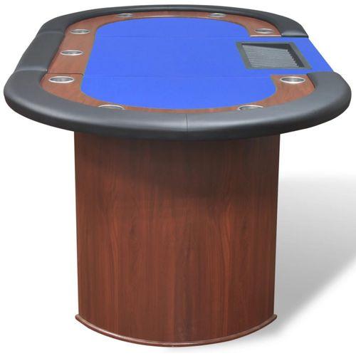 Stol za Poker za 10 Igrača s Prostorom za Djelitelja i Držačem Žetona Plavi  slika 14
