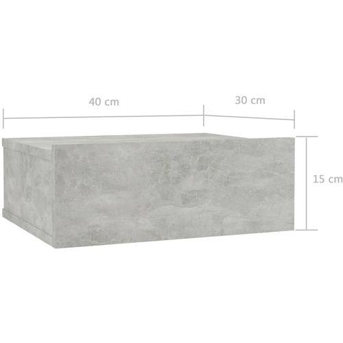 Viseći noćni ormarić siva boja betona 40x30x15 cm od iverice slika 7