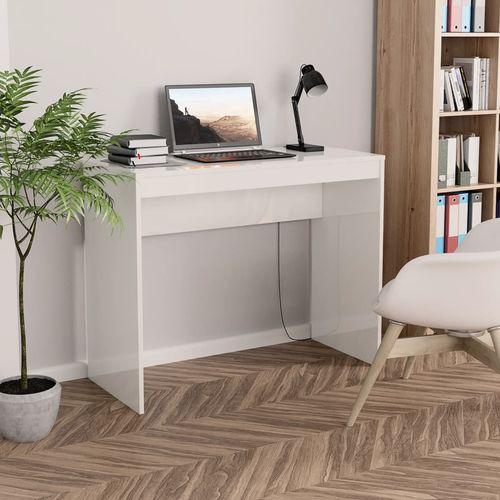 Radni stol visoki sjaj bijeli 90 x 40 x 72 cm od iverice slika 14