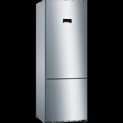 Serie | 4, Samostojeći hladnjak sa zamrzivačem na dnu, 193 x 70 cm, Izgled nehrđajućeg čelika    XXL NoFrost hladnjak sa zamrzivačem i VitaFresh ladicom koja čuva vaše namirnice dulje svježima.        XXL kapacitet: pruža puno prostora za vašu hranu.    VitaFresh ladica: čuva hranu dulje svježom.    NoFrost: Oprostite se od odmrzavanja hladnjaka sa zamrzivačem.    Perfect Fit: Uređaj se može postaviti pokraj bočnih zidova i pokućstva.    LED osvjetljenje: jednakomjerno osvijetli hladnjak za vrijeme cijelog životnog vijeka uređaja.