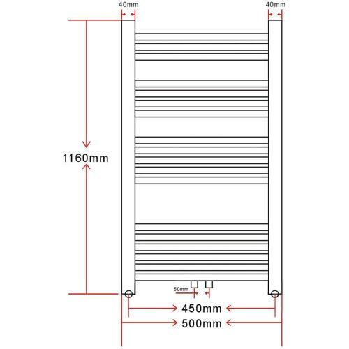 Kupaonski Radijator za Centralno grijanje Zaobljenih cijevi 500 x 1160mm Bočni & Srednji priključak slika 9