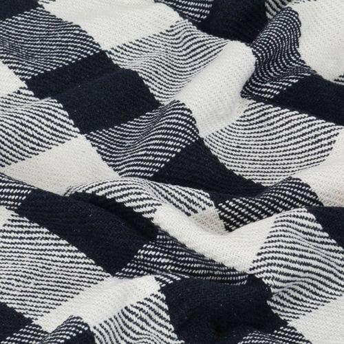 Pamučni pokrivač karirani 160 x 210 cm mornarsko plavi slika 3