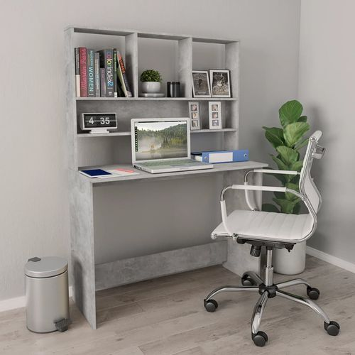 Radni stol s policama siva boja betona 110x45x157 cm iverica slika 1