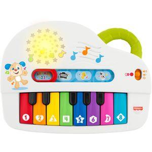 S 4 načina igre Fisher-Price veseli piano drži vaše malene zaposlene ''komponirajući'' i učeći kroz igru.  Kada vaše dijete pritisne jednu od tipki svjetlećeg piana, čuje ili realistične zvukove klavira ili veselo pačje kvakanje ili zabavno mukanje krave ili pjesme i riječi o bojama, brojevima i oblicima, ovisno o odabranom načinu igre.
