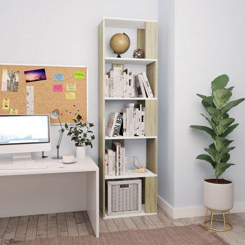 Ormarić za knjige / pregrada bijeli/hrast 45x24x159 cm iverica slika 10