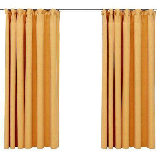 Zavjese za zamračivanje s kukama 2 kom žute 140 x 175 cm slika 2