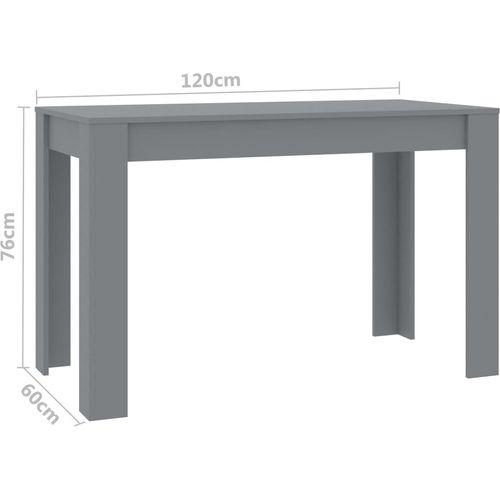 Blagovaonski stol sivi 120 x 60 x 76 cm od iverice slika 6