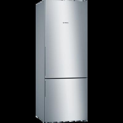 Serie | 4, Samostojeći hladnjak sa zamrzivačem na dnu, 191 x 70 cm, Izgled nehrđajućeg čelika    XXL LowFrost hladnjak sa zamrzivačem i VitaFresh ladicom koja čuva vaše namirnice dulje svježima.        XXL kapacitet: pruža puno prostora za vašu hranu.    VitaFresh ladica: čuva hranu dulje svježom u klimatski kontroliranom prostoru.    LowFrost: zbog manjeg stvaranja leda, aparat odmrzavate rijeđe - sa svojom energetskom učinkovitoštu uštedi vam puno posla.    LED osvjetljenje: jednakomjerno osvijetli hladnjak za vrijeme cijelog životnog vijeka uređaja.    BigBox ladica: jednostavno slaganje posuda za pohranu i većih zamrznutih namirnica.