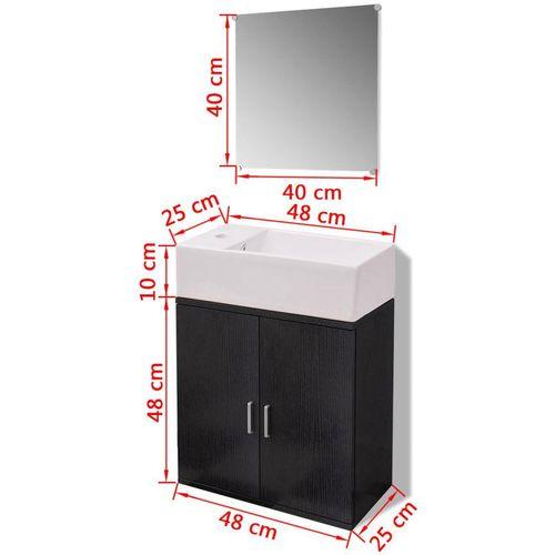 3-Dijelni Komplet Namještaja za Kupaonicu s Umivaonikom Crni  slika 2