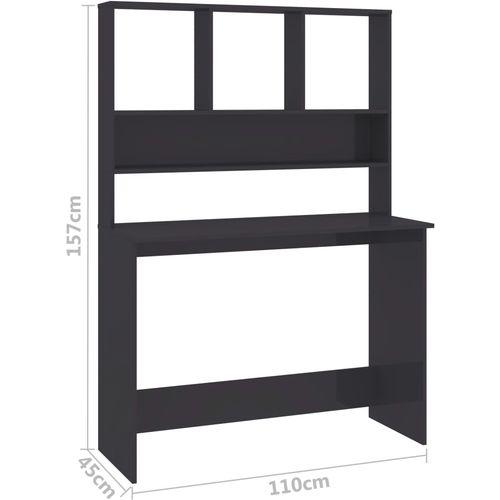 Radni stol s policama visoki sjaj sivi 110x45x157 cm iverica slika 12