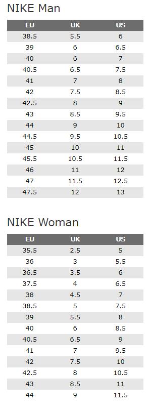 Tablica veličina za brand Nike