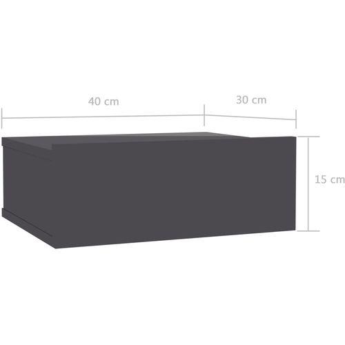 Viseći noćni ormarići 2 kom sjajni sivi 40x30x15 cm od iverice slika 15