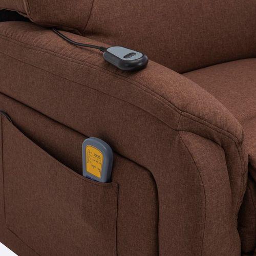 Električni masažni TV naslonjač na podizanje od tkanine smeđi slika 14